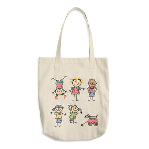Kids Life Cartoon Style, Bull Denim Woven Cotton Tote Bag