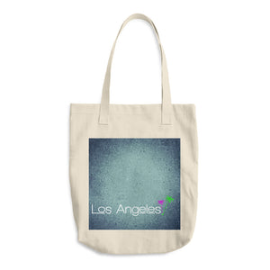 Los Angeles Print A, Bull Denim Woven Cotton Tote Bag