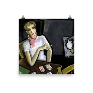 Smoking Woman Playing Cards Premium Photo Paper Poster
