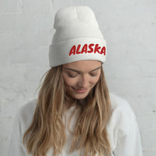 Load image into Gallery viewer, Alaska Text Red, Unisex Cuffed Beanie WHITE