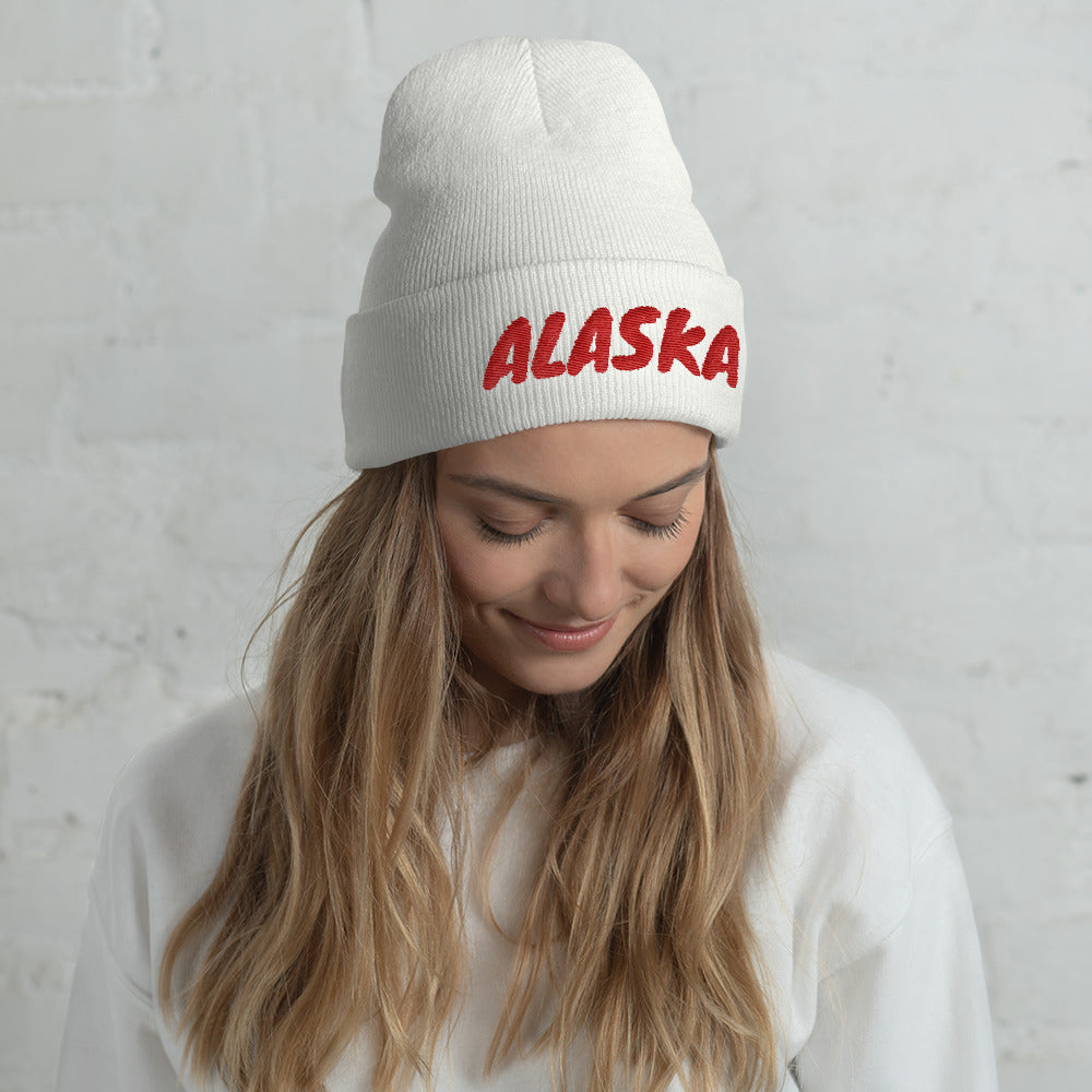 Alaska Text Red, Unisex Cuffed Beanie WHITE