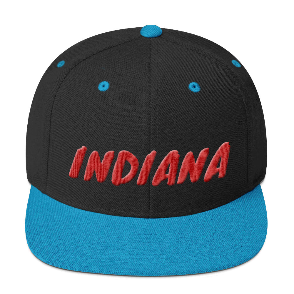Indiana Text Red 3D Puff, Snapback Hat