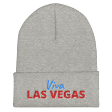 Load image into Gallery viewer, Viva Las Vegas Red Blue Text, Unisex Cuffed Beanie
