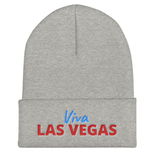Viva Las Vegas Red Blue Text, Unisex Cuffed Beanie