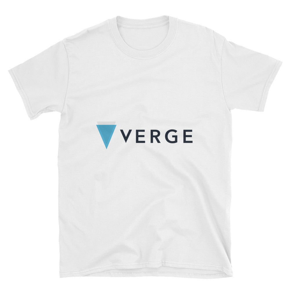 Verge Cryptocurrency Logo, Short-Sleeve Unisex T-Shirt White
