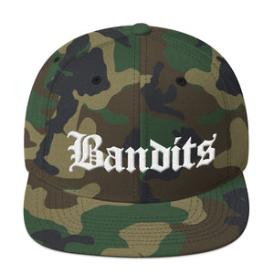 Bandits 3 Text White 3D Puff, Snapback Hat