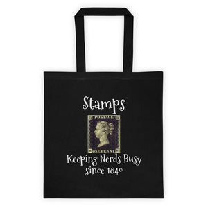 Stamps Keeping Nerds Busy Canvas Tote Bag Black