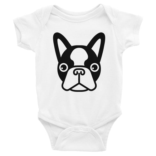 French Bulldog Face Baby Bodysuit