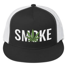 Load image into Gallery viewer, Cannabis Leaf Smoke Text White, Trucker Cap