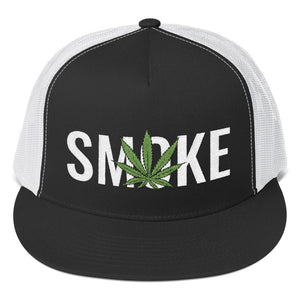 Cannabis Leaf Smoke Text White, Trucker Cap