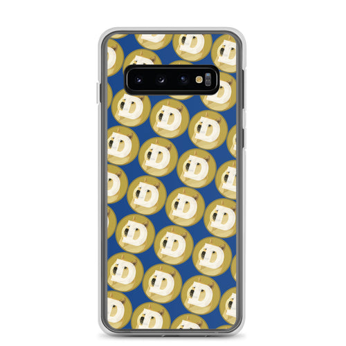 Dogecoin Logo Pattern, Samsung Galaxy Case Dark Blue