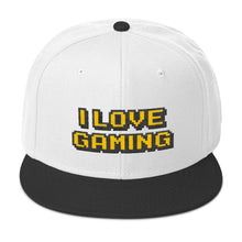 Load image into Gallery viewer, I Love Gaming Text Gold, Wooled Snapback Hat