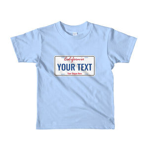 Design Your Own California State License Plate, Short Sleeve Kids T-shirt