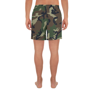 Deer Hunter Text Camo Pattern Printed, Men's Athletic Long Shorts