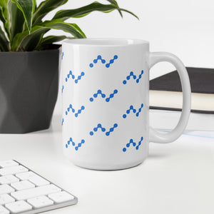 Nano Cryptocurrency Logo Pattern, White Glossy Coffee Mug