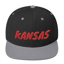 Load image into Gallery viewer, Kansas Text Red 3D Puff, Snapback Hat