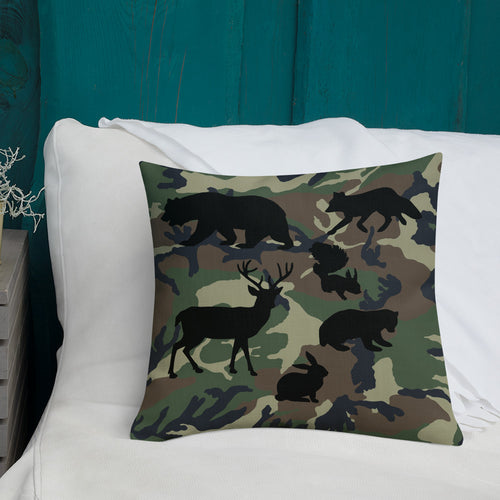 Forest Animals Silhouette, Premium Throw Pillow Camo in bed