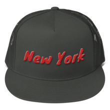 Load image into Gallery viewer, New York Text Red 3D Puff, Mesh Back Snapback Hat CHARCOAL GRAY
