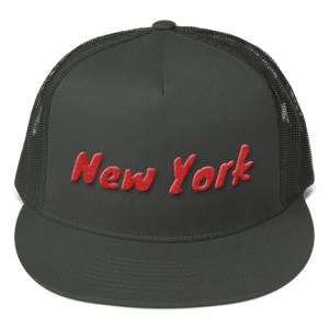New York Text Red 3D Puff, Mesh Back Snapback Hat CHARCOAL GRAY