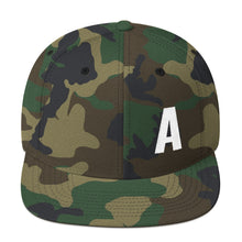 Load image into Gallery viewer, Alphabet Letter A, Snapback Hat Camouflage