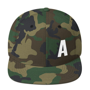 Alphabet Letter A, Snapback Hat Camouflage
