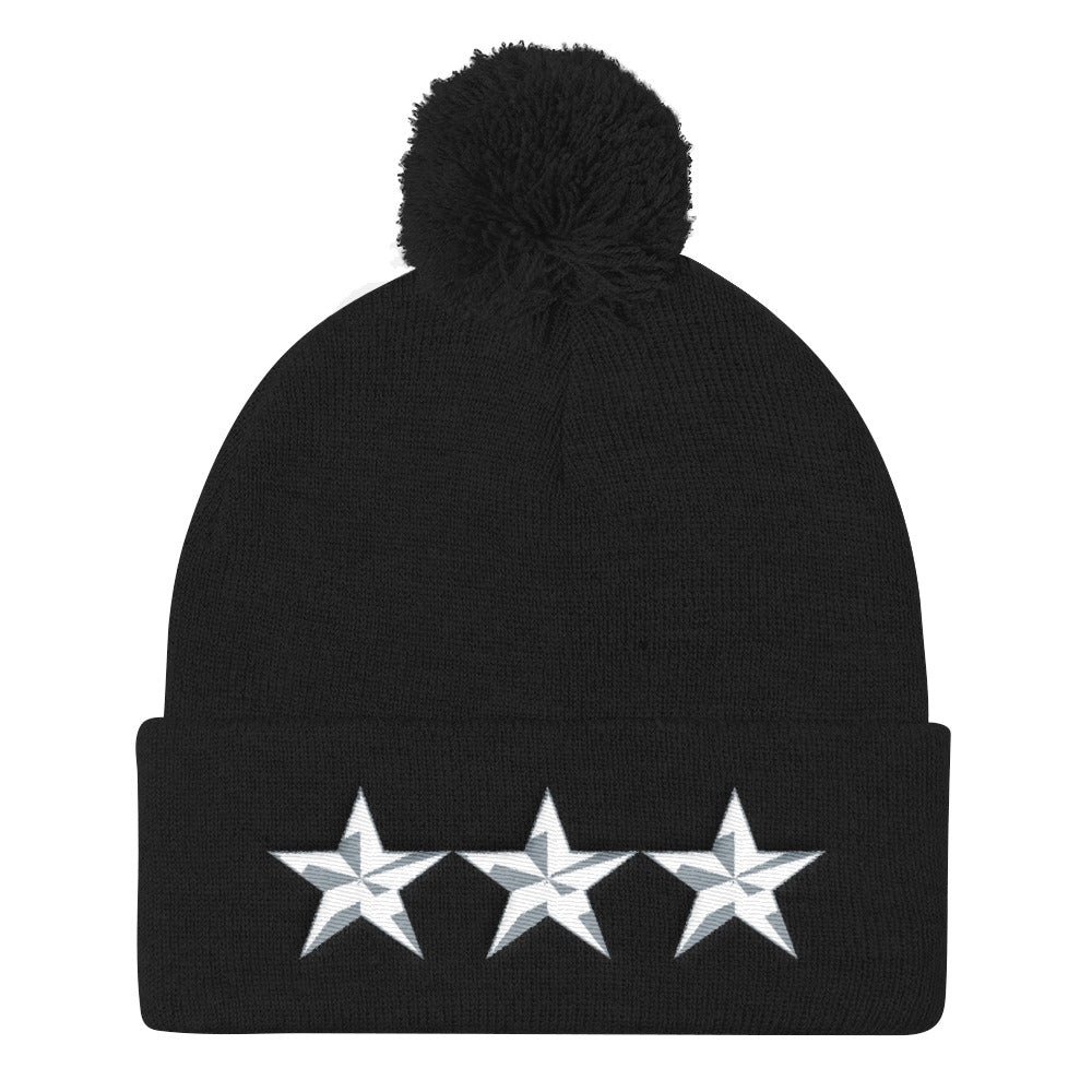 Army Style 3 Star General, Pom Pom Knit Cap