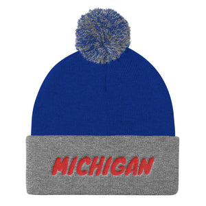 Michigan Tex Red, Pom Pom Knit Cap