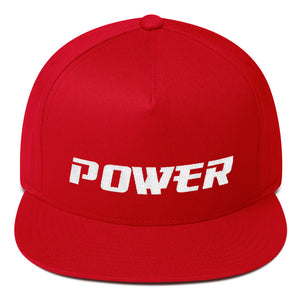 Power Text White, Flat Bill Cap