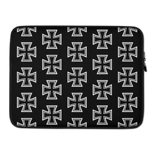 Load image into Gallery viewer, Maltese Cross Pattern Laptop Sleeve Black 15 in