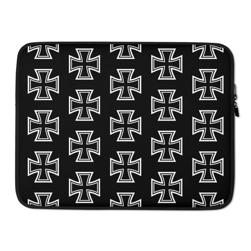 Maltese Cross Pattern Laptop Sleeve Black 15 in