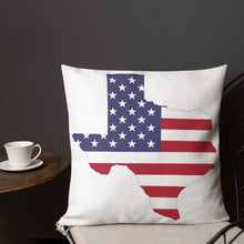 Load image into Gallery viewer, State of Texas Map with US Flag, Premium Pillow