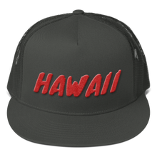 Load image into Gallery viewer, Hawaii Text Red 3D Puff, Mesh Back Snapback Hat CHARCOAL GRAY