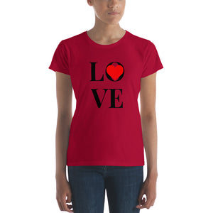 Love Heart, Women's Short Sleeve T-shirt Red