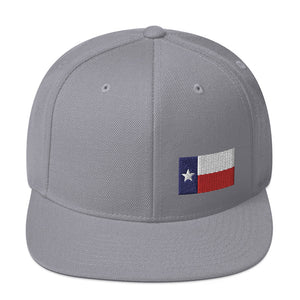 Texas Lone Star Flag Small Left Side, Embroidered Snapback Hat Silver