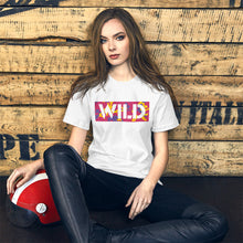 Load image into Gallery viewer, WILD Text Atomic Camo, Women's Short-Sleeve T-Shirt