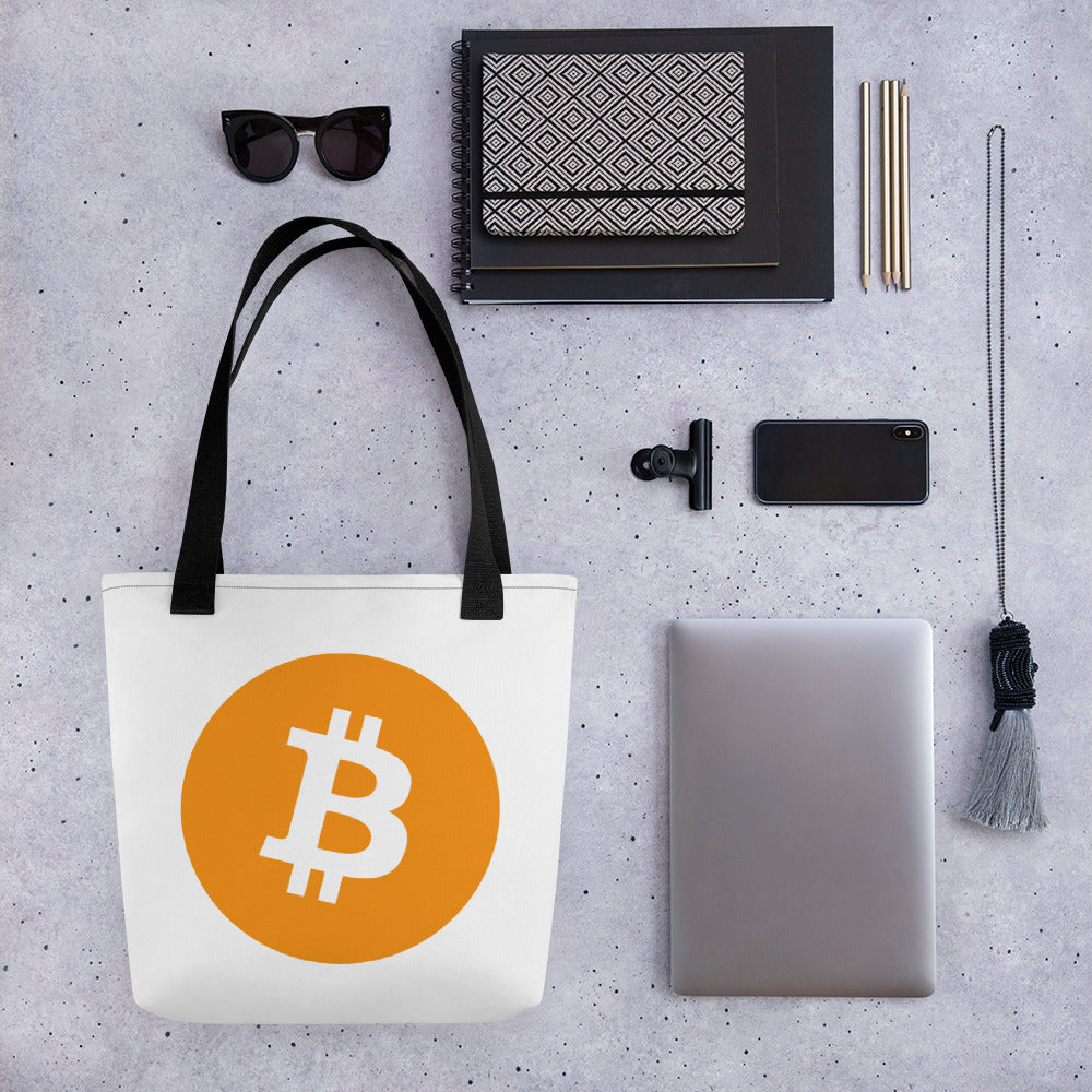 Bitcoin Cryptocurrency Logo, Tote bag
