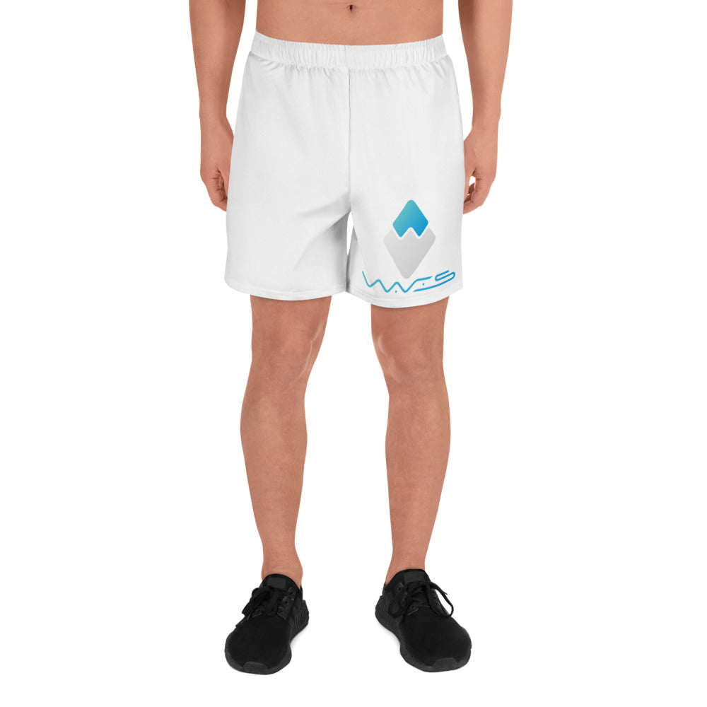 Waves Cryptocurrency Logo, Men's Athletic Long Shorts
