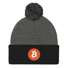 Load image into Gallery viewer, Bitcoin Cryptocurrency Logo, Pom Pom Knit Cap