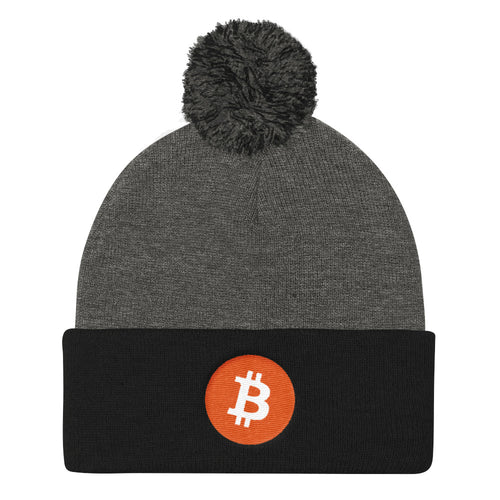 Bitcoin Cryptocurrency Logo, Pom Pom Knit Cap