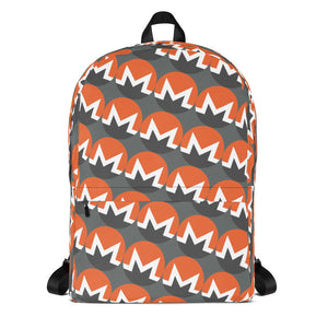 Monero Cryptocurrency Logo Pattern, Backpack Gray