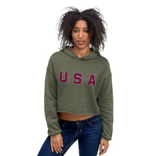 Load image into Gallery viewer, USA Text, Printed Women's Crop Hoodie