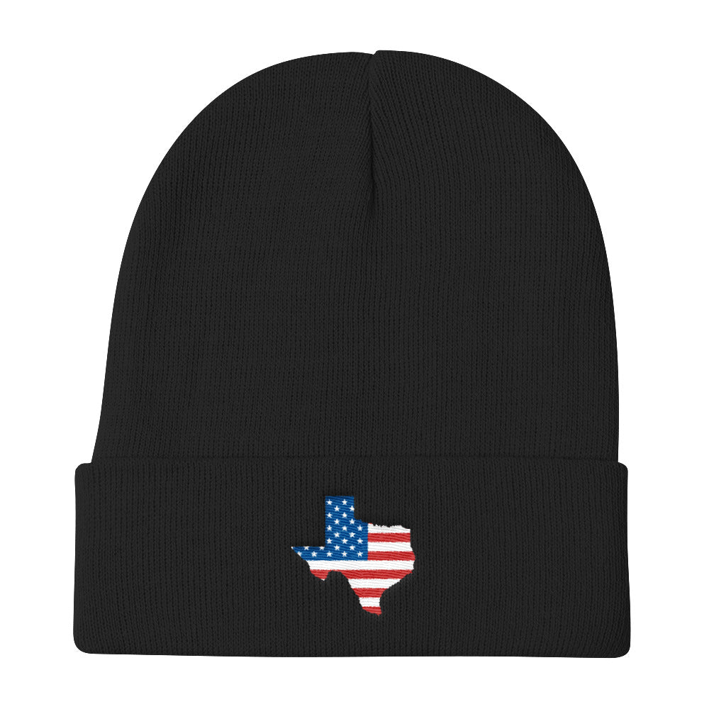 Texas State Map With USA Flag, Knit Beanie