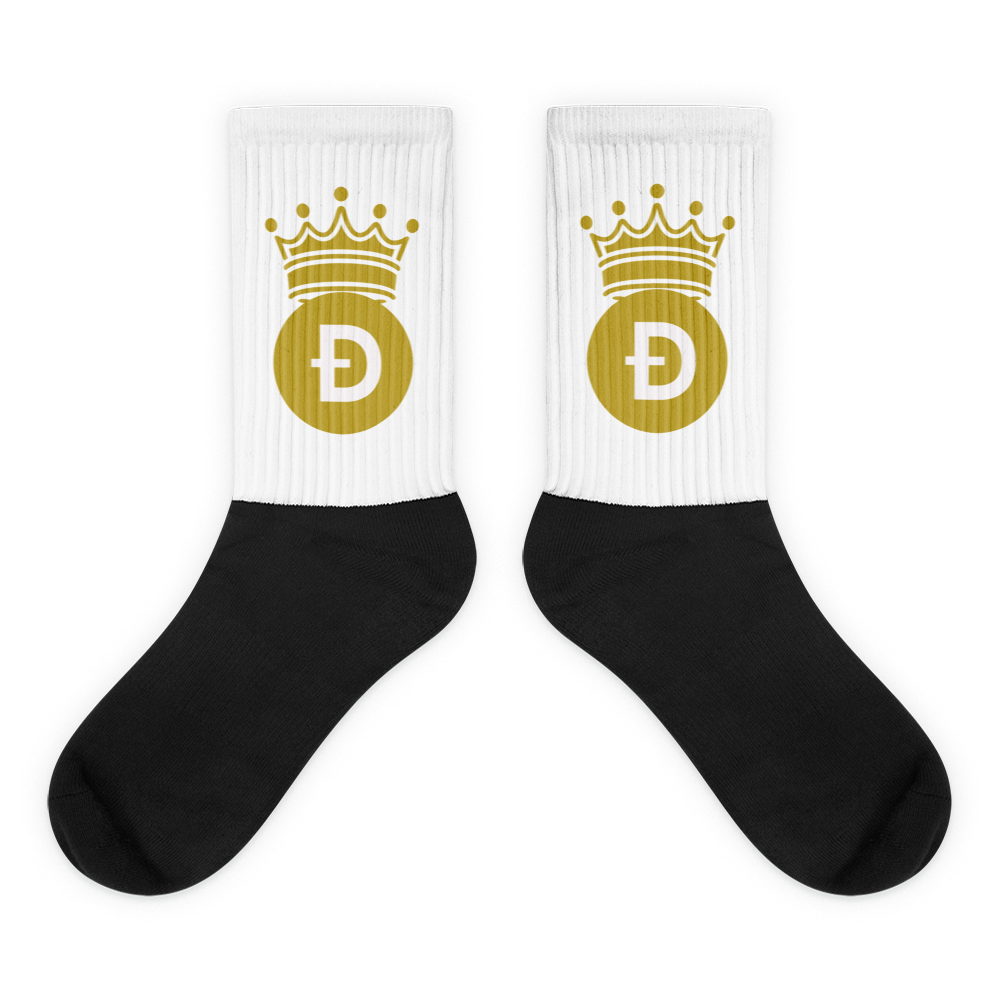 Dogecoin D Symbol With Crown, Unisex Socks