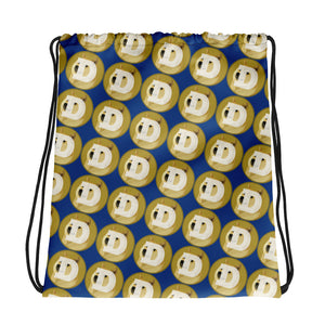 Dogecoin Crypto Logo Pattern, Drawstring Bag Dark Blue