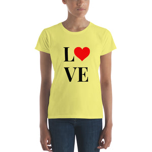 Love Heart 2, Women's Short Sleeve T-shirt Yellow