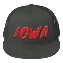 Load image into Gallery viewer, Iowa Text Red 3D Puff, Mesh Back Snapback Hat CHARCOAL GREY