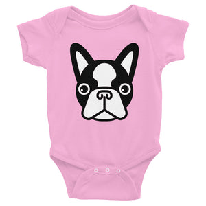 French Bulldog Face, Baby Bodysuit