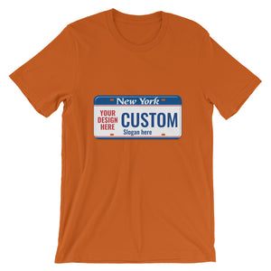 Design Your Own New York State License Plate 2, Short-Sleeve Unisex T-Shirt