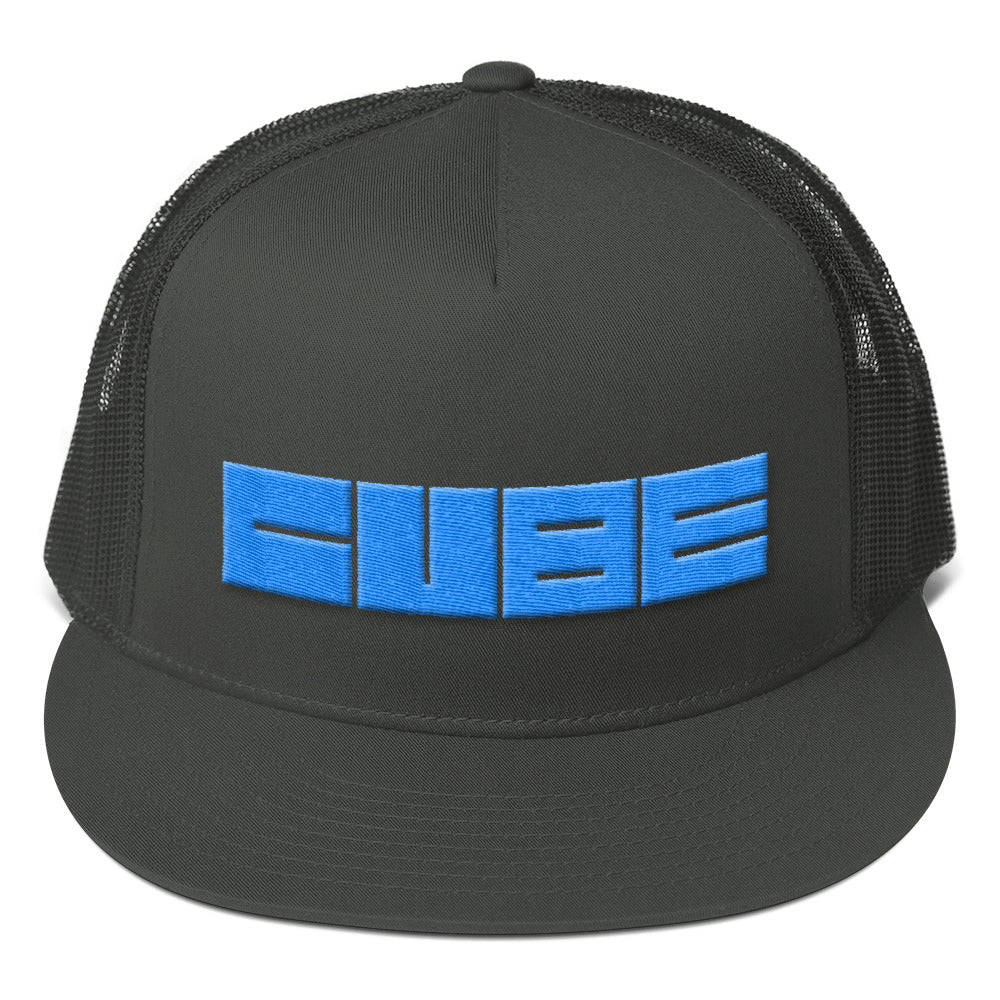 Cube Text Blue 3D Puff, Mesh Back Snapback Hat