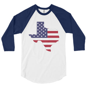 The State of Texas Map With US Flag, 3/4 sleeve raglan shirt